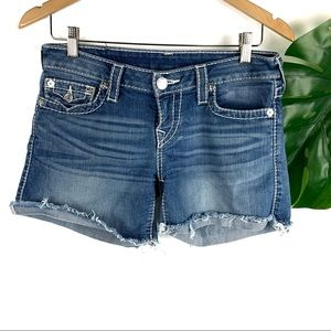 True Religion Mid Cut Off Denim Shorts Women's 27